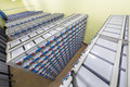 Batteries in industrial backup power system rows of Stock Photos