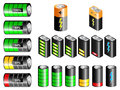 Batteries rectangular and cylindrical with charge state indication Stock Photo