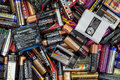 Batteries recycling different king of old lying in a heap for Royalty Free Stock Photo
