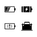 Batteries. Simple Related Vector Icons Royalty Free Stock Photo