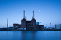 Battersea power station at night london Stock Image
