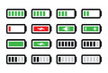 Battery charge icons set level indicatiors isoalted on white Royalty Free Stock Photography