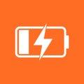 Battery charge level indicator. Vector illustration on orange ba