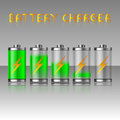 Battery charger energy power green levels icons set vector illustration Stock Photos