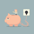 Battery charger piggy bank for Royalty Free Stock Images