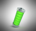 Battery charging Battery charge level indicators on grey 3d illu