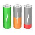 Battery charging icons set of batteries with different levels isolated on white background Stock Photography