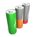 Battery charging set of batteries with different levels isolated on white background Stock Image