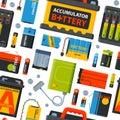 Battery energy seamless pattern vector illustration.