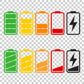 Battery icon vector set on isolated background. Symbols of batte
