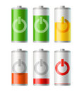 Battery icons with level of charging Royalty Free Stock Photos