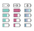 Battery icons set for interface in pastel colors Stock Images