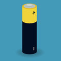 Battery illustration of a cell with positive and negative signs on blue background Royalty Free Stock Photography