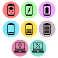 Battery and laptop icon designs a set of for graphic element use Stock Photos