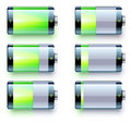 Battery level indicators vector illustration of detailed glossy indicator icons Royalty Free Stock Photo