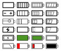 Battery life set of indicator designs Stock Images