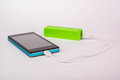 Battery power bank charging smartphone Royalty Free Stock Image