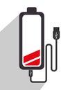 Battery recharging smartphone design graphic vector illustration Stock Photography