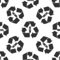 Battery with recycle symbol - renewable energy concept icon seamless pattern on white background Royalty Free Stock Photo