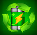 Battery recycling concept on green Royalty Free Stock Images