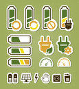 Battery recycling icons editable vector set Royalty Free Stock Photos