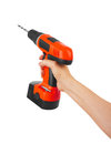 Battery screwdriver in hand Royalty Free Stock Photo