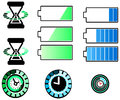 Battery and timing icons set with half silhouette design create by vector Royalty Free Stock Photography