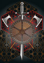 Battle shield with axes and sword final Royalty Free Stock Images