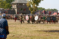 Battle of slavs and vikings the staging the during an attack on castle wolin viking Stock Images