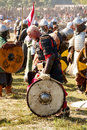 Battle of slavs and vikings the staging the during an attack on castle wolin viking Royalty Free Stock Image