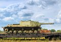 Battle tanks soviet multirole armored tank on train platform Royalty Free Stock Photos