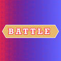 Battle text on red and blue background. Classic pop-art style battle intro. Halftone print texture, red and blue corner Royalty Free Stock Photo