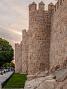 Battlement romanesque wall of avila in detail Stock Images
