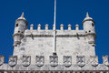 Battlements of the belem tower an early th century with crosses order christ in lisbon portugal Royalty Free Stock Images