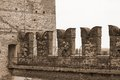 Battlements of the castle on the walls to protect the medieval s great soldiers Royalty Free Stock Images