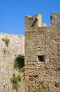 Battlements of the order of the knights castle in rhodes greece Stock Photos