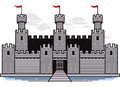 Battlements a stylized castle with drawbridge and moat Stock Image