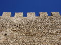Battlements on the walls medieval in greece Stock Photography