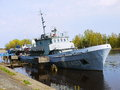 Battleship in latvia small military ship riga base Stock Photos