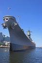 Battleship moored in norfolk harbour Stock Photos