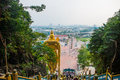 Batu Caves, gold statue Lord Murugan. Panorama view of the city. Kuala Lumpur, Malaysia. Royalty Free Stock Photo