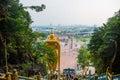 Batu Caves, gold statue Lord Murugan. Panorama view of the city. Kuala Lumpur, Malaysia. Royalty Free Stock Photo
