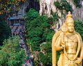 Batu caves, Malaysia - General view of the entrance, Murugan statue Royalty Free Stock Photo