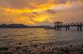 Batu musang jetty penang malaysia at evening before the sun down and leave it Stock Photo