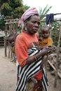 Batwa Pygmy woman and grandchildren in Burundi Royalty Free Stock Photo