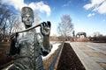 Batyushkov monument in vologda a traditional russian slavonic monumental metal statue Royalty Free Stock Photo