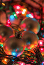 Baubles on Christmas Lights Stock Photos