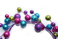 Baubles in semicircle arranged a with white background Royalty Free Stock Photo