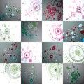 Bauhaus art, set of modular vector wallpapers made using circles