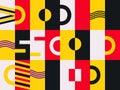 Bauhaus design seamless pattern. Geometric elements memphis retro style. Vector